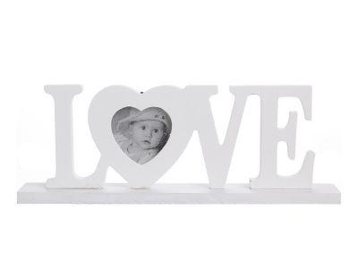 Marco LOVE de madera blanca